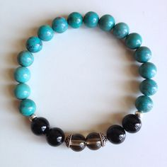 Astrology ~ Capricorn Sign ~ Genuine Turquoise, Black Onyx & Smokey Quartz Bracelet w/ Sterling Silver Caps and Hill Tribe Spacers on Etsy, $26.00