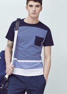 T-shirt coton à rayures   MANGO MAN