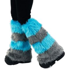 Pawstar Cheshire Cat Striped Furry Leg Warmers Fluffies Stripe Striped... ($47) ❤ liked on Polyvore featuring intimates, hosiery, leg warmers, purple, women's clothing, purple leg warmers, striped leg warmers and faux fur leg warmers