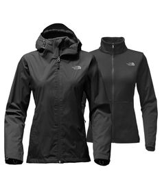 The North Face Women's Arrowood Tri-Climate Jacket Black Rain Jacket, 3 In 1 Jacket, Vest Jacket, Raincoats For Women, Jackets For Women, North Face Women, The North Face, Line Jackets