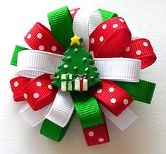 Christmas Tree Hair Bow  Small Flower Loop  by simpledesign816, $4.50