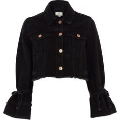 f42cd377e99c2 River Island Black distressed cropped denim jacket ( 110) ❤ liked on Polyvore  featuring outerwear