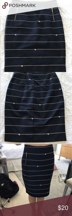 Navy blue pencil skirt Navy blue with gold zippered pockets on front and white nautical knots around whole skirt. Never worn new with tags. No trades. The Limited Skirts Pencil