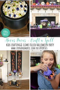 "Hocus Pocus, my favorite Halloween movie. Get inspired to throw your own Hocus Pocus movie themed party. ""Craft"" up a spell with slime and stickers! #fun365 #halloween #halloweenparty #holidayparty #partyideas #parties"