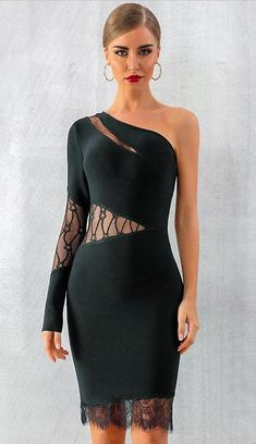 Hot Bandage One Shoulder Lace Bodycon Party Club Midi Dress Lace Up Bodycon Dress, Lace Dress, Bandage Dresses, Long Sleeve Lace Gown, Club Cocktail Dresses, Deep V Dress, Spandex Dress, Cheap Dresses, Striped Dress