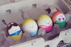 Snow White and Little Mermaid dyed easter eggs