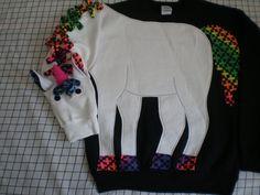 Unicorn sweatshirt, adult sizes small, medium, large and Xlarge. Mystical, magical, fantasy, rainbow trim