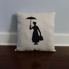 Mary Poppins Silhouette Pillow on natural linen cotton. $20.00, via Etsy.