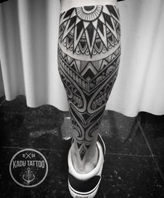 Maori Tribal Leg Tattoo http://tattooideas247.com/maori-tribal-leg-tattoo/