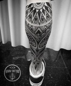 Maori Tribal Leg Tattoo http://tattooideas247.com/maori-tribal-leg-tattoo/