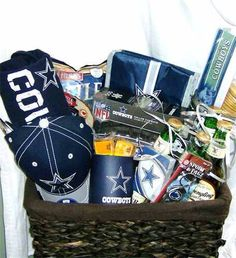 Fathers day sports baskets by StarrsEssentials on Etsy, $65.00