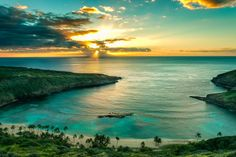 Sunset over Hanauma Bay, Hawaii. I have been to this beautiful place. Snorkled here, and it was like snorkling in a tropical fish aquarium.