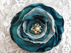 Emerald Green and Champagne Silky Flower by BananaSueBoutique, $12.00