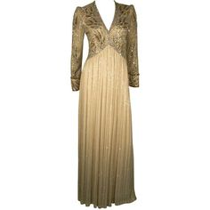 e9fa48dd05553 Preowned 1970s Bob Mackie Silk Beaded Evening Gown (33.479.975 VND) ❤ liked  on Polyvore featuring dresses, gowns, seventies, vintage, multiple, sleeved  ...