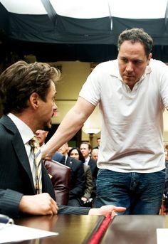 "Robert Downey Jr & Jon Favreau on the set of ""Iron Man"""