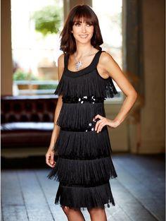 M&Co BLACK FLAPPER DRESS SEQUINS & TASSELS CHARLESTON GATSBY ROARING 20's 10 NWT