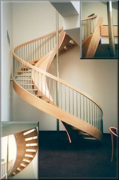 unique wood spiral stairs...is that a slide too?
