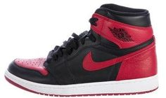 cheap for discount 2648a 51cfe Men s black and varsity red leather Nike Air Jordan 1 Retro Banned  round-toe high-top sneakers with perforated vamps, signature Swoosh and  logo at sides, ...
