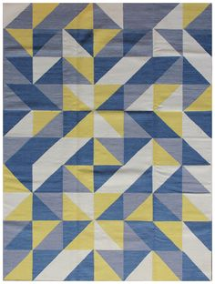 kelim - abstract tiles N/n - blue & yellow 2.40 x 1.70m | Wool on Cotton Hand-woven Flat pile Was R 8 800 - 50 % Now R 4 400
