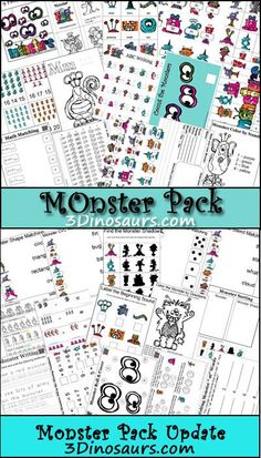Free Monster Pack with over 100 pages of activities for ages 2 to 8 - 3Dinosaurs.com