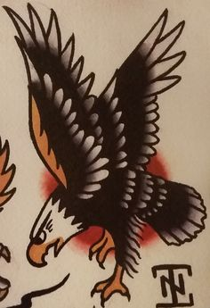 "Traditional/old school tattoo, Jeromey ""tilt"" McCulloch, eagle"