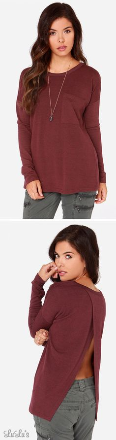 Call Me Back Washed Burgundy Sweater