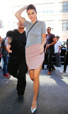 Kendall Jenner arrive au défilé de Kanye West le 16 septembre 2015