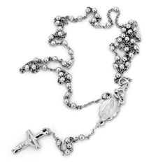 Sterling Silver Rosary Chain Cross and StMaria 20 MensLadies Necklace  4mm -- To view further for this item, visit the image link.
