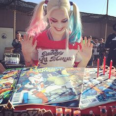 The Slice Is Right! The Best Celebrity Birthday Cakes | MARGOT ROBBIE | Margot can count on her Squad to celebrate! The actress got a Harley Quinn-inspired comic book cake from her Suicide Squad cast mates for her 25th birthday on July 2.