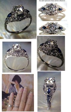 Antique filligree engagement ring with sapphires. The mix of the two are supposed to bring powerful juju