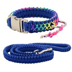 High Quality Parachute Colorful Dog Collar Rainbow Paracord Pet Collar Silvery Buckle D Ring With Chinese Knot For Any Dog #Affiliate