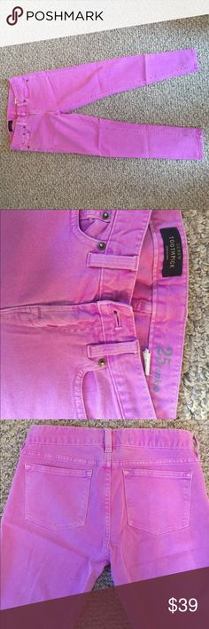 Purple J.Crew Jeans Beautiful cropped skinny jeans from J.Crew. The unique purple color really pops when paired with neutrals. Great condition, only slightly worn and true to size. J. Crew Jeans Ankle & Cropped