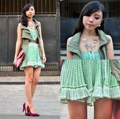 C Army Green Vest, Pink Envelopes, Envelope Clutch, Filipina, Plum, Lace Skirt, Urban, Detail, Printed