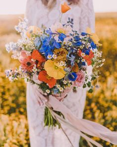 "Silk & Willow (@silkandwillow) on Instagram: ""This bright and cheery  70's wildflower inspired bouquet by @edenfloralslo is featured as a…"""