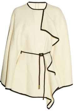 Etro | Chiffon-trimmed wool-blend cape | NET-A-PORTER.COM  white with black piping is always a great idea.