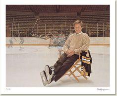 "Ken Danby - Bobby Orr ""Garden of Dreams"" Hockey Goalie, Hockey Players, Ice Hockey, Bobby Orr, Run And Ride, Boston Bruins Hockey, Wayne Gretzky, Boston Sports, Sports Graphics"