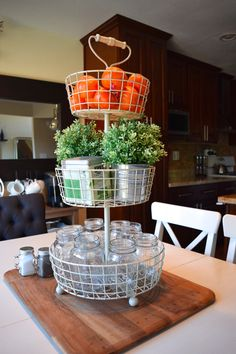 3 tier stand. Organization. Decor. Our high functioning small dining space + new tufted end chairs! | almafied.com