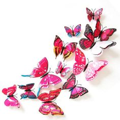 12 Pcs PVC Butterfly Decals 3D Wall Stickers Home Decor Poster for Kids Rooms Adhesive