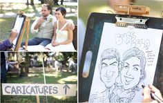 Wedding favor: The caricature artist could dress up as a French artist with a mustache and a black baret and a black bow tie