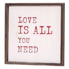 love is all you need framed artwork by lindsay interiors | notonthehighstreet.com