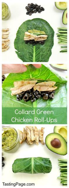 Gluten Free Collard Green Chicken Roll Ups - ditch the un-healthy burrito for this greens based veggie wrap with chicken | Tasting Page