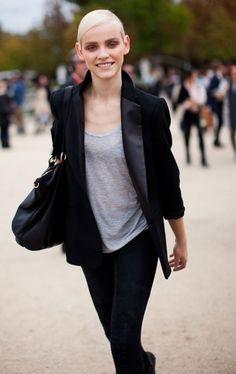 grey silk sweater, smoking & black skinny jeans