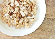 Here's my favorite recipe (so far…) for steel-cut oatmeal. It's simple, but delicious. The hint of vanilla, crunch of almonds, and slight sweetness of brown sugar and maple syrup add just the right amount of flavor. Cooking the oats in soy milk adds an a extra dose of protein and creaminess, which I love.