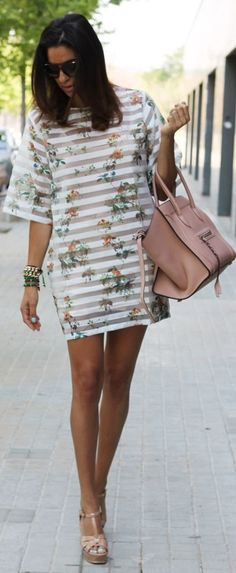 Front Row Shop White Half Sleeve Floral Print Striped Mini Dress by Farabian