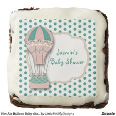 Hot Air Balloon Baby shower Brownies, Mint & Coral Square Brownie