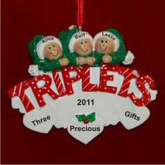 In Celebration of Triplets | Hand Personalized Christmas Ornaments by Russell Rhodes Baby Christmas Gifts, First Christmas Ornament, Perfect Christmas Gifts, Polymer Clay Ornaments, Polymer Clay Christmas, Triplets, Twins, Baby Ornaments, Personalized Christmas Ornaments