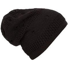 524532a7e9b Womens Casual Cut Out Knitted Beanie Hat Black ( 4.85) ❤ liked on Polyvore  featuring