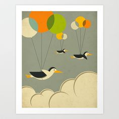 Flock of Penguins by Jazzberry Blue. Cute print to adorn your kid's room.