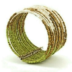 "ONE AVAILABLE! GWaC Java Abstract Bead Cuff - Lime THIS LISTING MAY BE PURCHASED!   Java Abstract Beaded Cuff Bracelet - Lime, Adjustable The comfortable open wrist band easily adjust from 2"" to 3"". 2"" wide.  Region: Indonesia, Fair Trade Gifts with a Cause  Jewelry Bracelets"