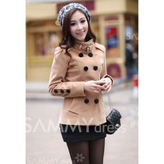 $19.45 Fashionable Double Breasted Stand Collar Long Sleeve Worsted Short Pea Coat For Women